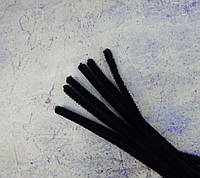 Пушистая синельная проволока, черная, 30см.