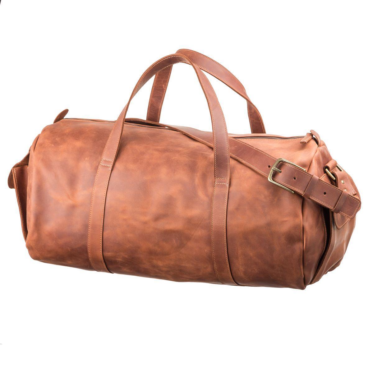 Сумка дорожная винтажная из коричневой кожи Grande  Pelle 11047
