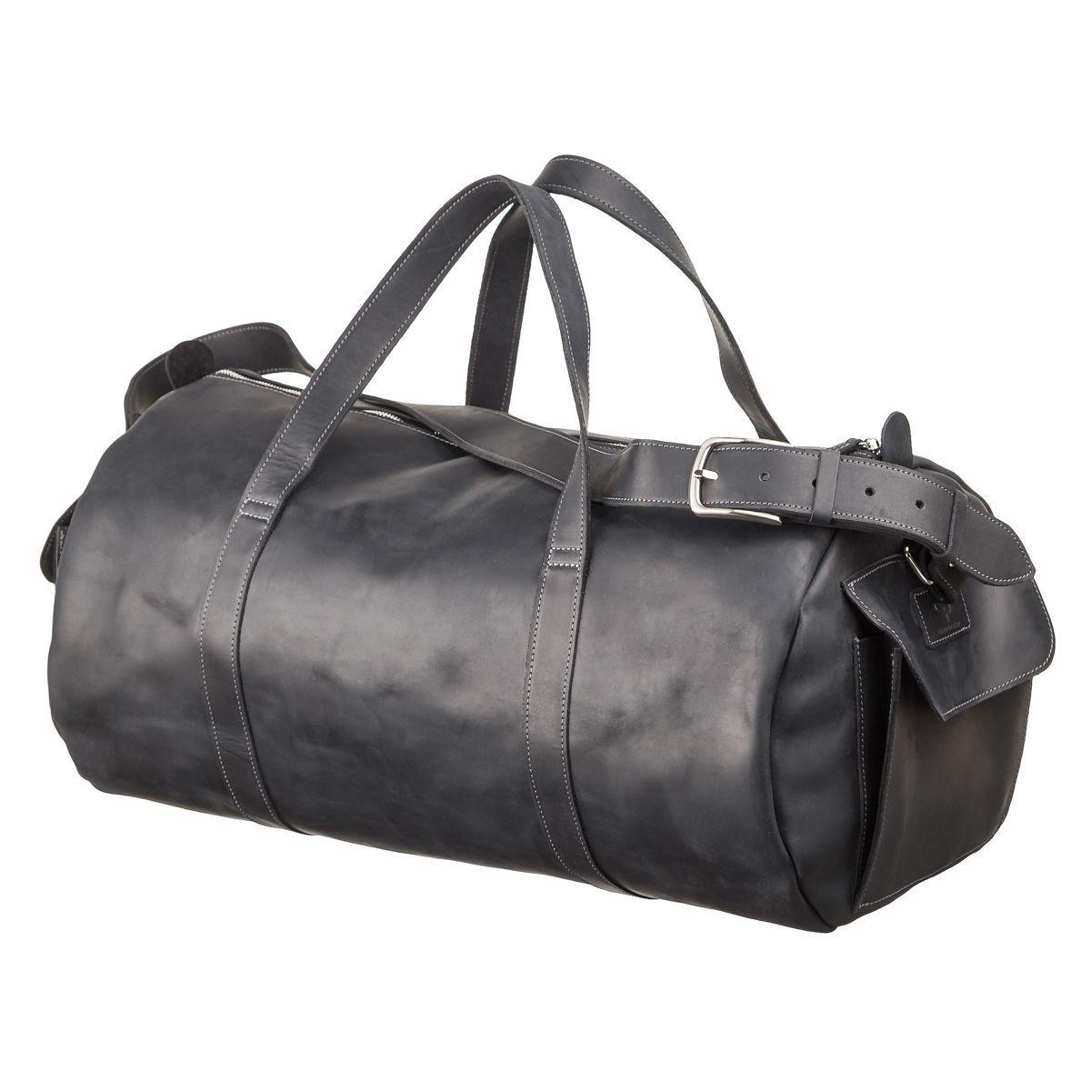 Сумка дорожная Grande Pelle из винтажной кожи черного цвета 11046