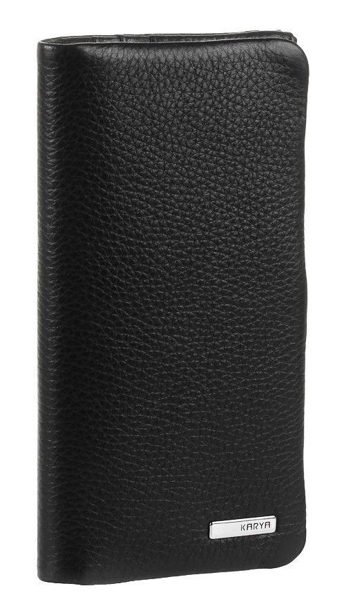 Портмоне вертикальное мужское KARYA из натуральной кожи в черном цвете 17133