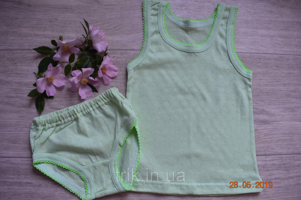 Комплект нижнего белья для девочки оливковый мультирип отделка крошет