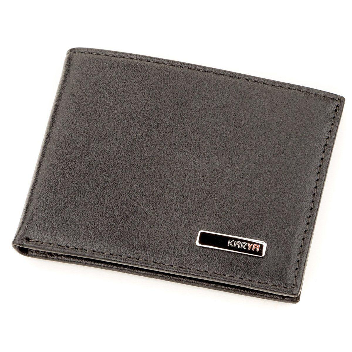 Зажим портмоне мужской кожаный KARYA из натуральной кожи в черном цвете 17246