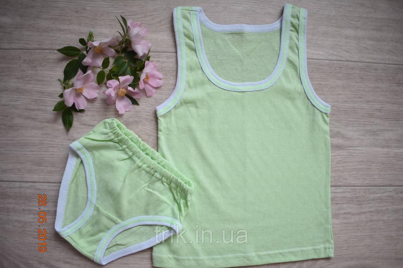 Комплект нижнего белья для девочки хлопковый цвет оливковый полотно мультирип