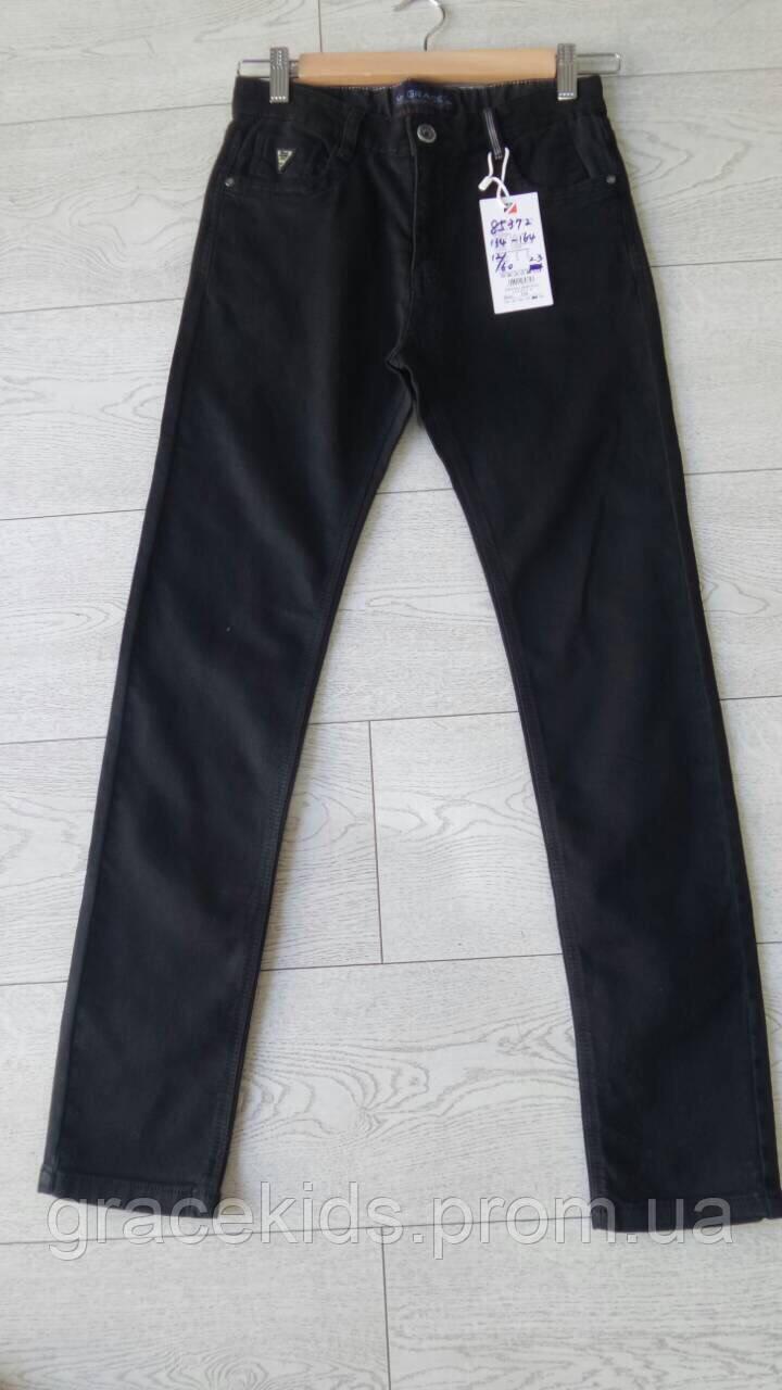 Черные котоновые брюки для мальчиков оптом,разм 134-164 см