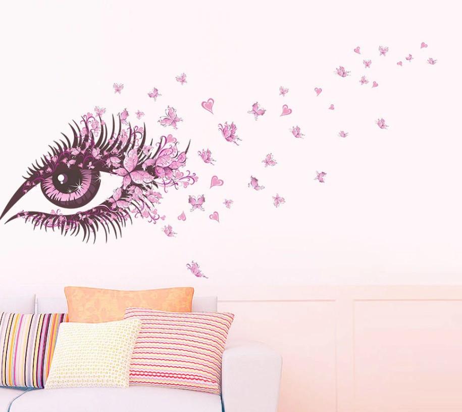 """Интерьерная наклейка """"Глаз девушки"""", цвет розовый"""