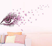 """Интерьерная наклейка """"Глаз девушки"""", цвет розовый, фото 1"""