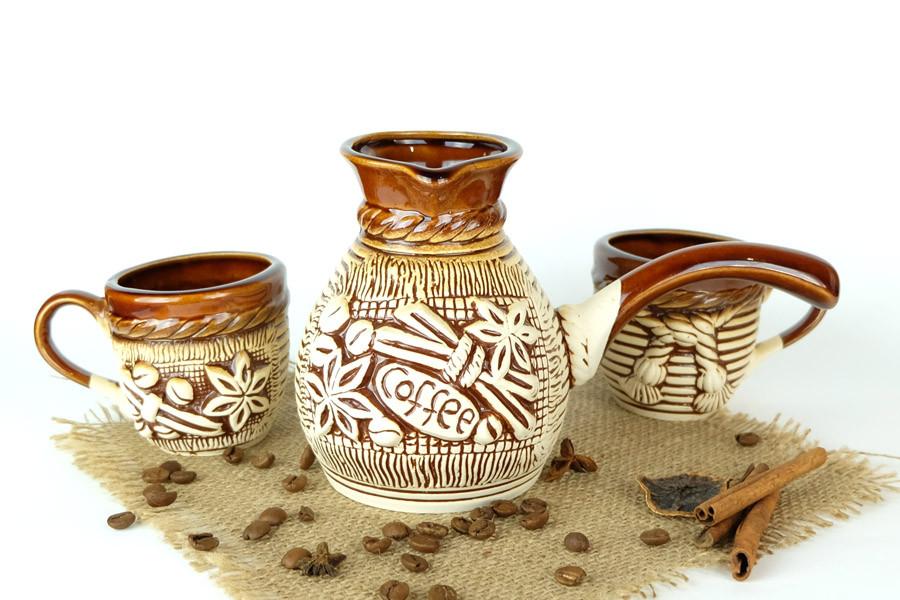 Турка Coffe Корица керамическая с чашками 500 мл + рассекатель