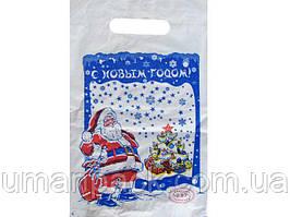"""Пакет с прорезной ручкой тип банан (20*30) """" НГ Дед Мороз"""" ХВГ (100 шт)Полиэтиленовые пакеты сумки кульки"""