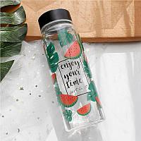 Скляна пляшка для води прозора кавун герметична пляшка для напоїв