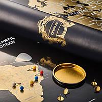 Большая Скретч Карта Мира Путешествий Черная с Золотом в Тубусе с Премиум Набором Аксессуаров на Стену Divalis