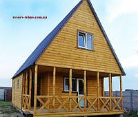 Дачный домик 8м х 6м из блокхауса с мансардой и террассой, фото 1