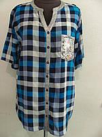 Рубашка в яркую клетку штапельная, большие размеры, двух цветов р.52,56,58  Код 1812М