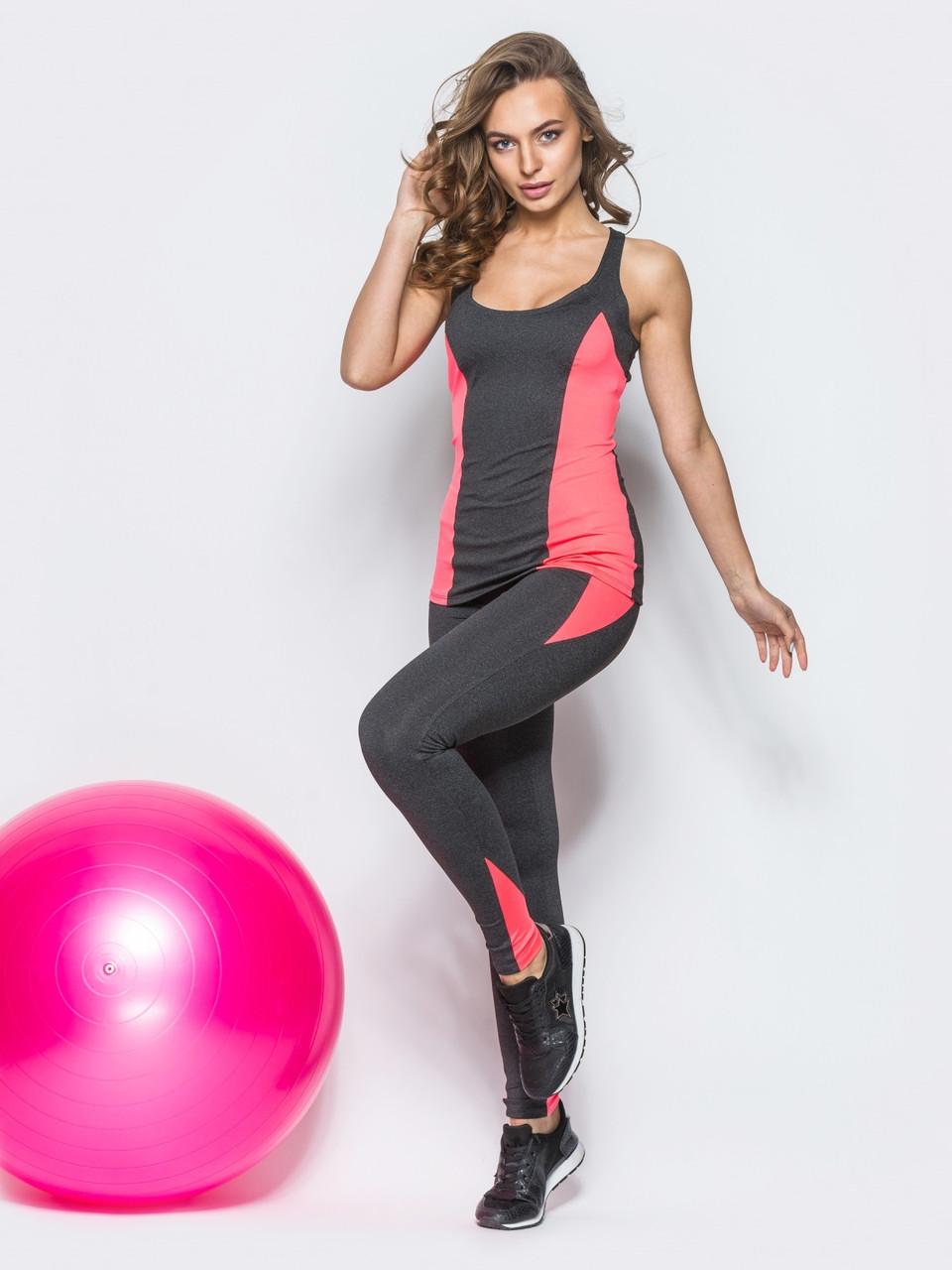 Спортивный костюм для спортзала лосины и майка темно - серый с розовым размер L