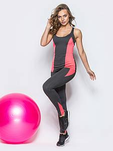 Спортивний костюм для спортзалу лосини і майка темно - сірий з рожевим розмір L