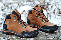 Ботинки зимние кожа натуральный мех мужские коричневые Харьков (Код: Р295)