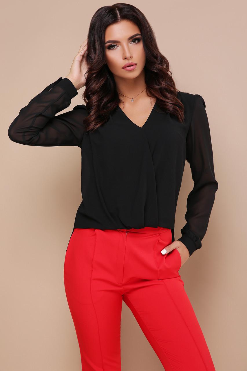 Нарядная черная блуза с длинными рукавами и гипюровой вставкой на спинке Айлин д/р