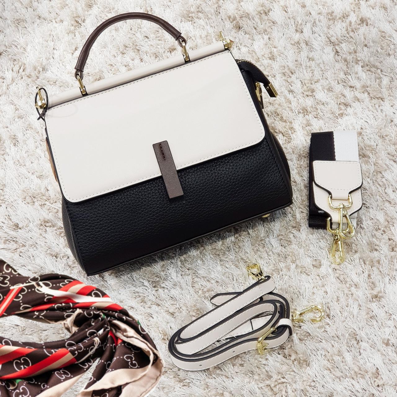 Женская маленькая сумка молочный+черный