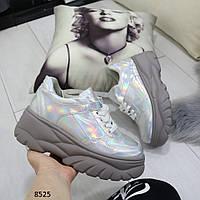 Женские кроссовки на массивной фигурной подошве серые голограмма, фото 1