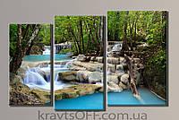 "Модульная картина на холсте из 3-х частей ""Ступенчатый водопад"" ( 57х90 см )"