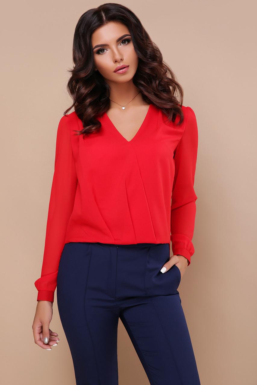 Нарядная красная шифоновая блузка с длинными рукавами и гипюровой вставкой на спинке Айлин д/р