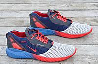 Кроссовки сетка мужские синие с красным весна лето (Код: Р514) Только 41р!