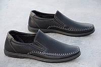 Туфли, мокасины мужские летние черные искусственная кожа стильные 2017
