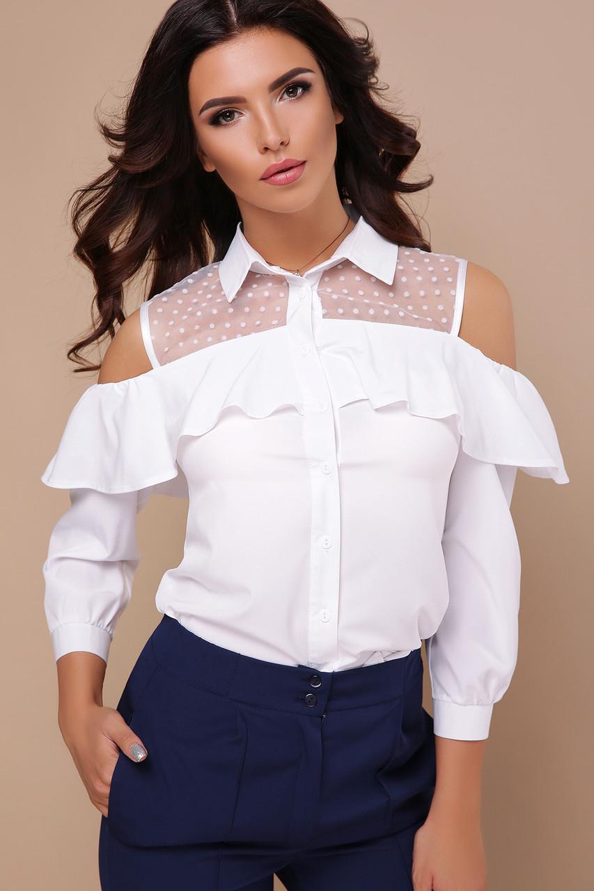 Женская стильная белая блуза со вставкой из сетки с открытими плечами и воланом Блуза Эрика д/р