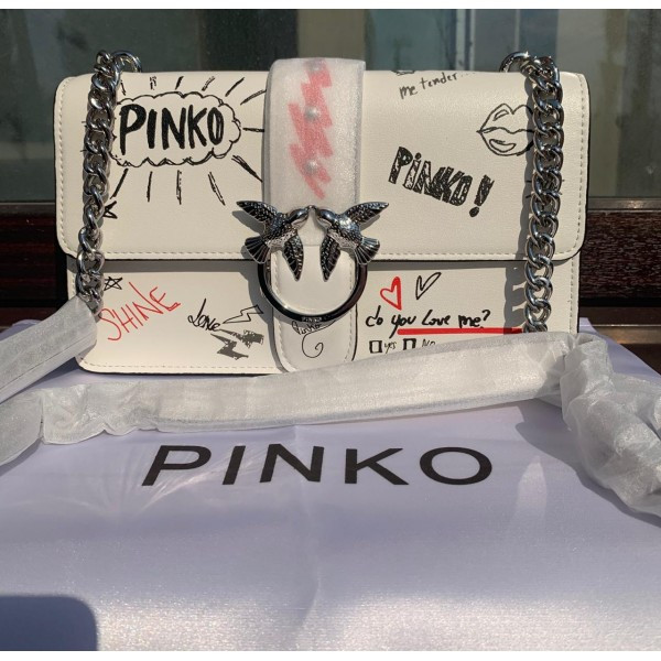 Женская сумка Pinko (Пинко) LOVE Graffitti Tracolla, белый цвет