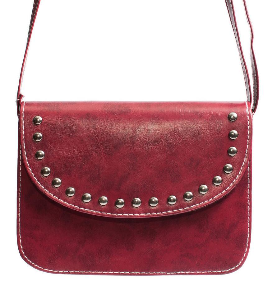 Женская маленькая сумка бордовая с заклепками (988898326)