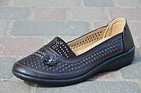 Мокасины, туфли женские летние темно коричневые легкие (Код: Р617а)