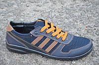 Кроссовки, кеды, спортивные туфли, мокасины летние темно синие сетка Львов (Код: Р623а)
