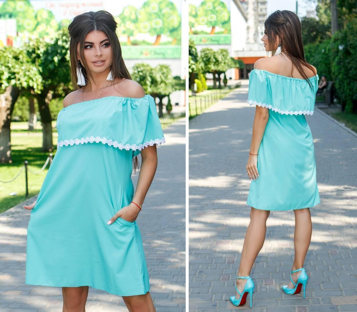 Платье / сарафан свободного кроя, арт 786,  цвет мята