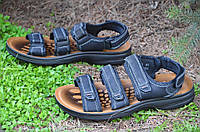 Босоножки, сандали на липучках мужские стильные черные искусственная кожа (Код: Р680)
