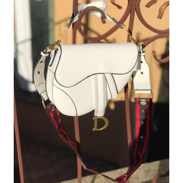 Женская сумочка Dior (Диор) SADDLE, белый цвет