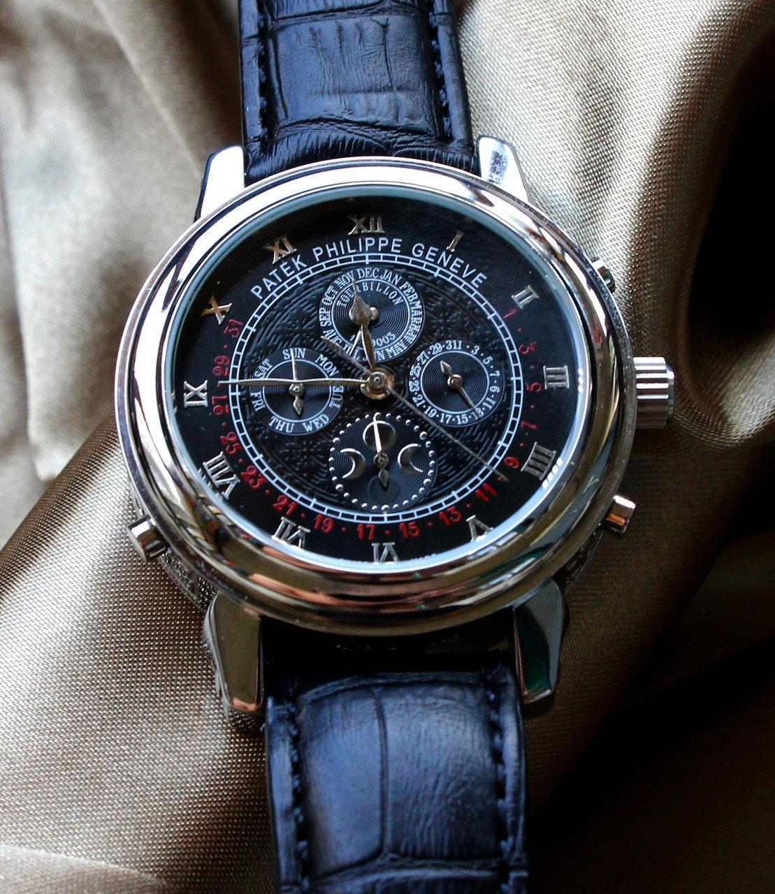 Мужские наручные часы под золото Patek Philippe Sky Moon 27 реплика черный+серебро