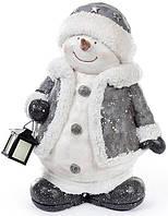 """Новогодняя керамическая фигура """"Снеговик с фонарем"""" 42см"""