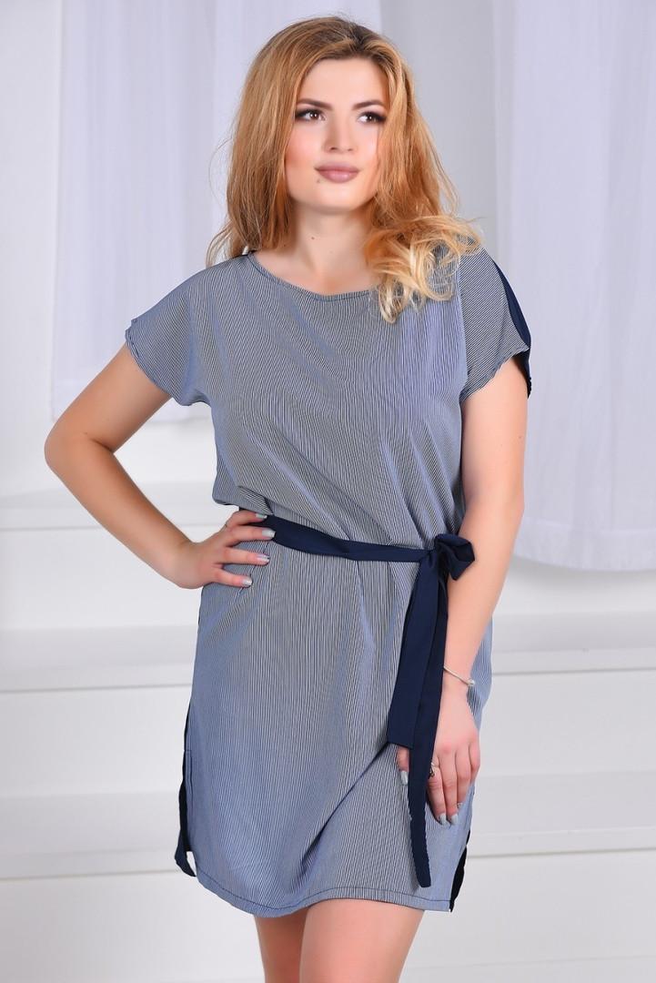 Женское платье под пояс с разрезами 48-52