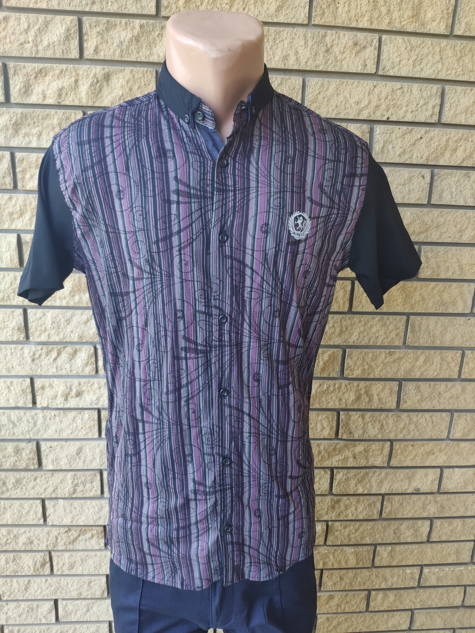 Рубашка мужская летняя коттоновая стрейчевая брендовая высокого качества COBRA, Турция