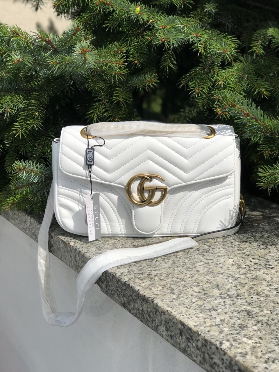 Женская сумка Gucci (Гуччи) Marmont, белый цвет