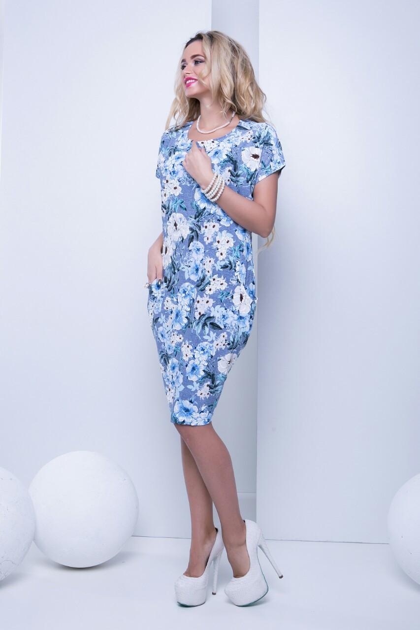 Летнее повседневное платье с цветочным принтом