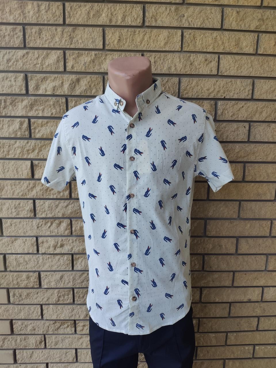 Рубашка мужская летняя коттоновая стрейчевая брендовая высокого качества реплика LACOSTE, Турция