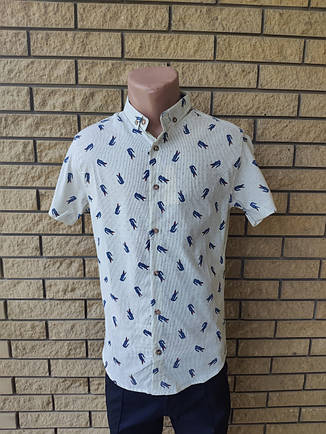 Рубашка мужская летняя коттоновая стрейчевая брендовая высокого качества реплика LACOSTE, Турция, фото 2