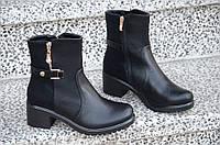 Весенние ботинки полусапожки на широком каблуке, на платформе женские черные (Код: Р887а)