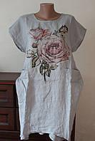 Платье женское лен роза