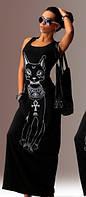 Женский летний сарафан египетская кошка черная р. 54-58