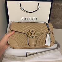 Женская сумка Gucci (Гуччи) Marmont, бежевый цвет, фото 1