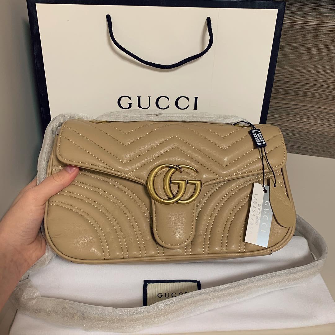 Женская сумка Gucci (Гуччи) Marmont, бежевый цвет