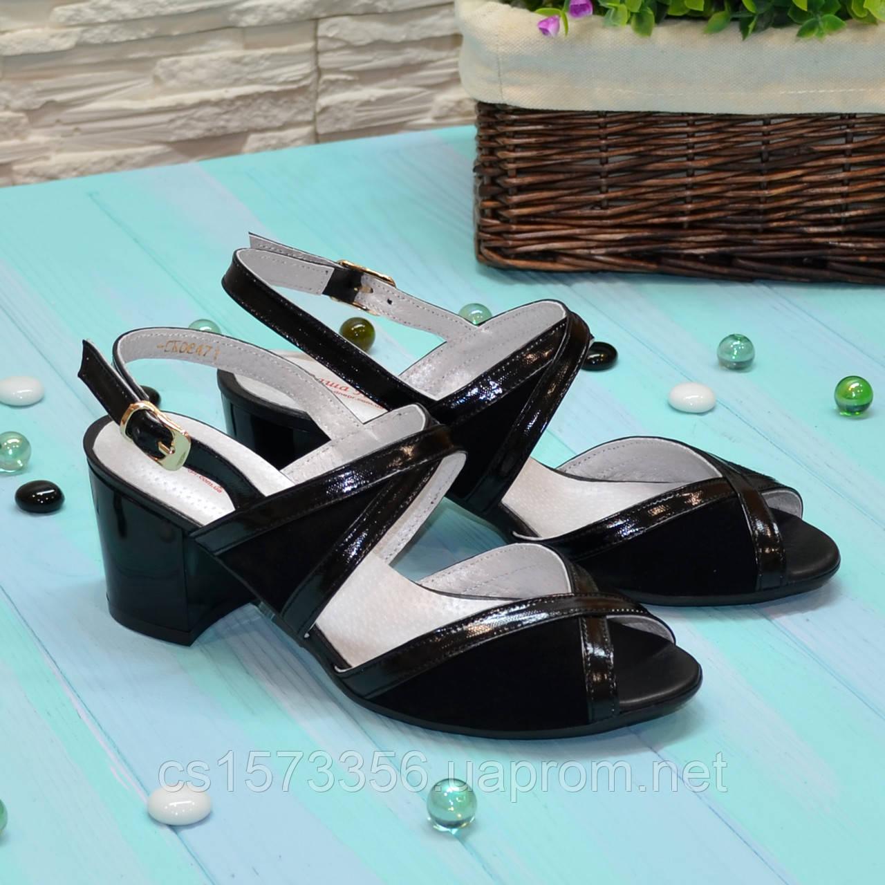 e2add287e Женские черные босоножки на устойчивом каблуке, натуральная замша и лаковая  кожа.