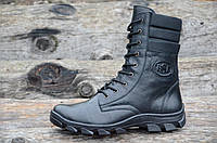 Зимние мужские высокие ботинки, берцы натуральная кожа, прошиты высокая подошва черные (Код: Р956)