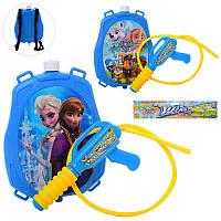 Детский водяной пистолет - автомат Щенячий патруль или Фроузен с баллоном на плечи, 5950